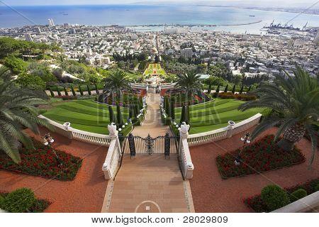 Tremendous solemn landscape - Bahai sacred places, Haifa and Mediterranean sea