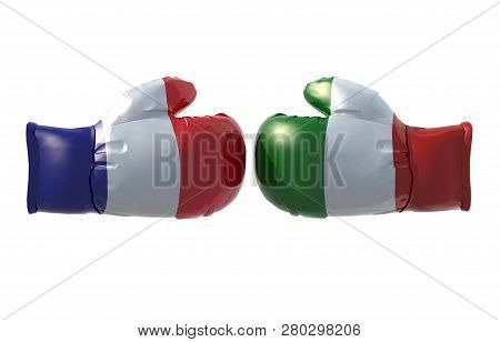 Boxing Gloves With French And Italian Flag, Isolated 3d Illustration