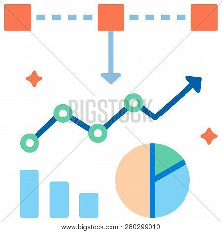Piechart And Graph With Square Elements Vector Illustration In Flat Color Design