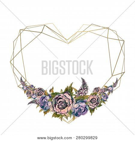 The Frame Is The Heart Of Watercolor Flowers. Valentine, Wedding Invitation.