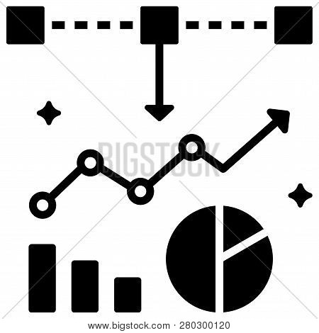 Piechart And Graph With Square Elements Vector Illustration In Solid Color Design