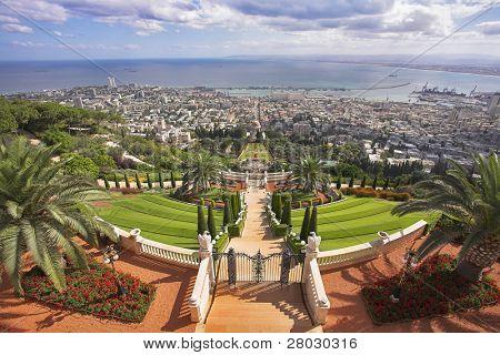 Grandiose solemn landscape - Bahai sacred places, Haifa and Mediterranean sea