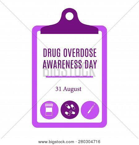 Drug Overdose Awareness Day Purple Cheklist Vector Illustration