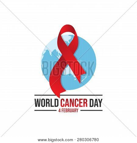 7e249592af2 World awareness Red ribbon of cancer with globe background. Illustration of campaign  day of cancer world