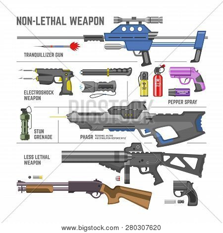 Gun Vector Military Non-lethal Weapon Or Army Handgun And Electroshok Pepper-spray Illustration Set