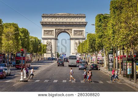 Paris, France - September 9: The Champs-Élysées And The Arc De Triomphe, On September 09, 2012 In Pa