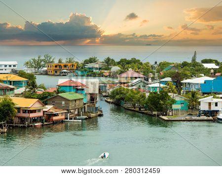 Oak Ridge area of Roatan Island, Honduras at sunrise. Oak Ridge is known as the Venice of the Caribbean.