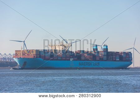 Hoek Van Holland, The Netherlands - January 20 2019: Large Cargo Maersk Line Shipping Container Vess