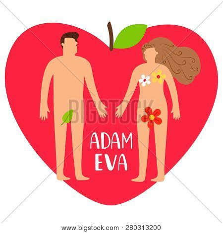 Adam And Eve. Bible Genesis Vector Illustration With Naked Woman, Man And Heart Apple Isolated On Wh
