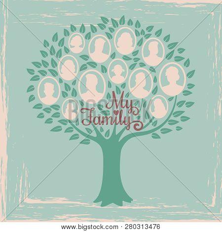 Vintage Genealogy Tree. Genealogical Family Tree Vector Illustration. Genealogical History, Family T