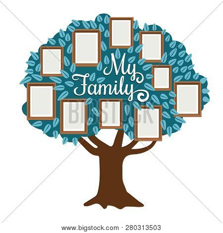 Family Tree With Photo Frame Isolated On White. Vectoir Family Togetherness Community, Genealogy Fra