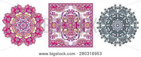 Set Of Circle Lace And Bandanna Design