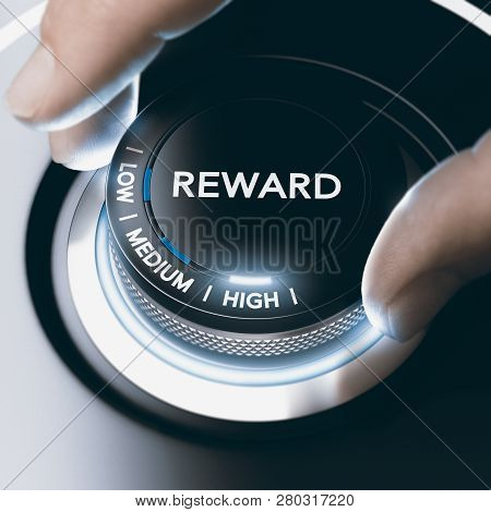 Man Turning A Knob With Low, Medium Or High Reward Position. Concept Image. Composite Image Between