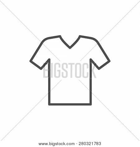 V-neck T-shirt Line Icon Isolated On White. Vector Illustration