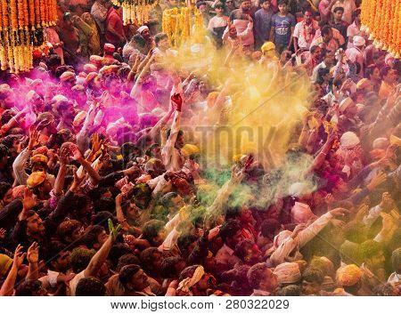 Barsana, India, Holi Festival, Feb 24, 2018 - Crowds Can Be Seen Below Duirng Holi Festival In India