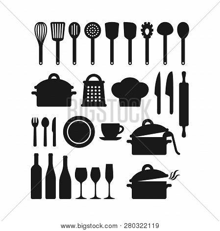 Kitchenware Utensils Pots And Tools Black Silhouette Icon Set. Kitchen Appliances, Cutlery, Silverwa