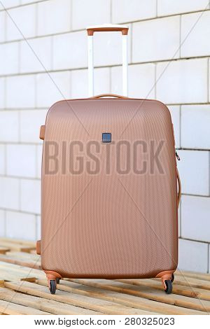 Close Up Trolly Bag Sets Luggage  On Texture Background Trolly Bag.