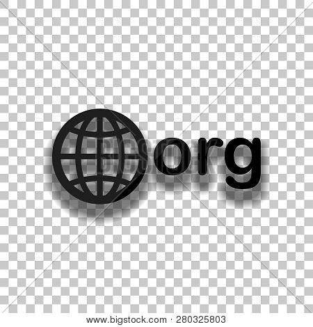 One Of First Domains For Non-profit Organization, Globe And Org. Black Glass Icon With Soft Shadow O