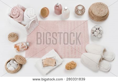 Skincare Concept With Spa Accessories And Soft Carpet In Center