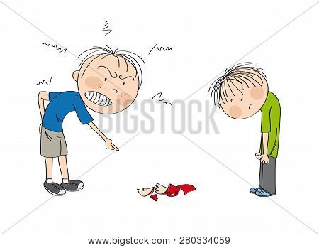 Father Angry With His Son, Pointing His Finger At Broken Cup On The Floor, Boy Is Looking Sad, Waiti