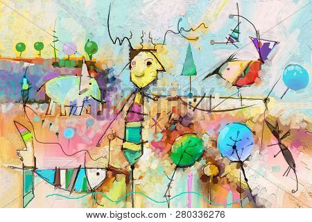 Abstract Colorful Fantasy Oil, Acrylic Painting. Semi- Abstract Paint Of Tree, Fish, Elephant And Bi