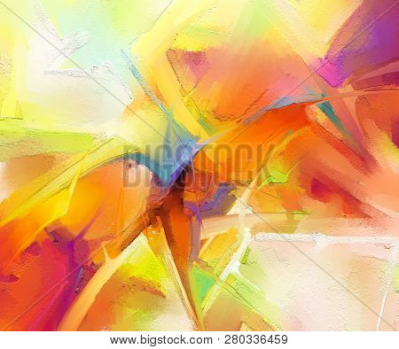 Abstract Colorful Oil, Acrylic Painting On Canvas Texture. Hand Drawn Brush Stroke, Oil Color Painti