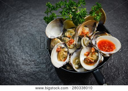 Enamel Venus Shell Cooking Pan Seafood Plate With Shellfish Clams Ocean Gourmet Dinner Cooked With H
