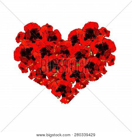 Love Card With Watercolor Floral Bouquet. Poppy Flower Vector Illustration With Heart Form. Delicate