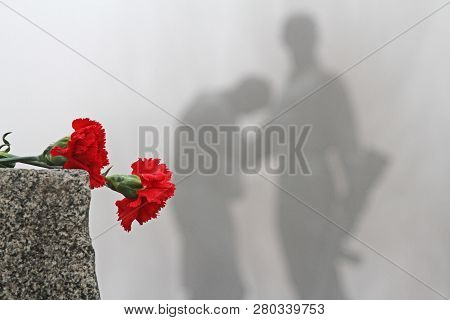 Volgograd, Russia - February 03, 2013: Red Carnations Lie On A Granite Cobblestone On The Background
