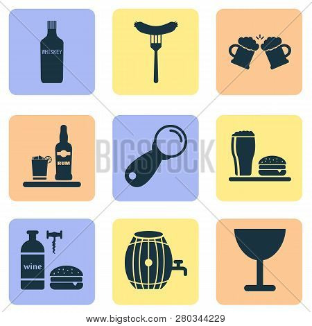 Beverages Icons Set With Lunch, Wine With Burger, Ice Rum And Other Liqueur Elements. Isolated Vecto
