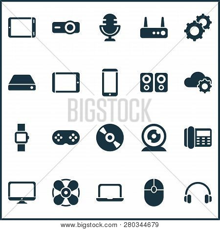 Device Icons Set With Hard Drive, Joystick, Router And Other Click Elements. Isolated Vector Illustr