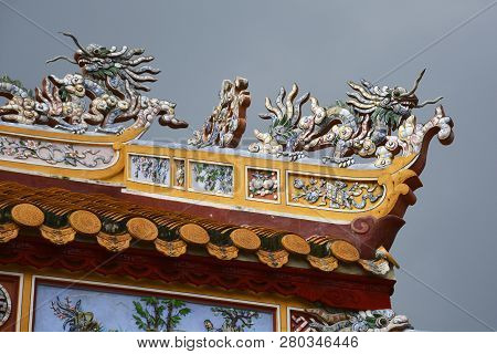 Roof Detail At The Trieu To Mieu Temple In The Imperial City, Hue, Vietnam