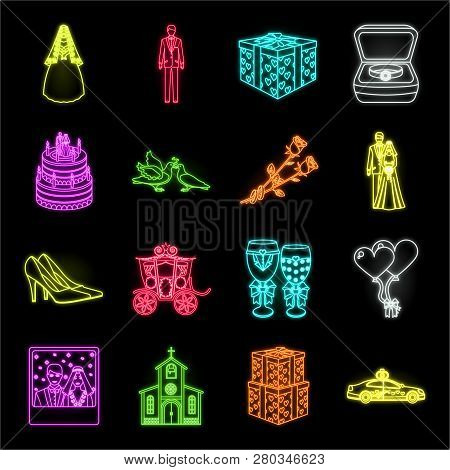 Wedding And Attributes Neon Icons In Set Collection For Design. Newlyweds And Accessories Vector Sym