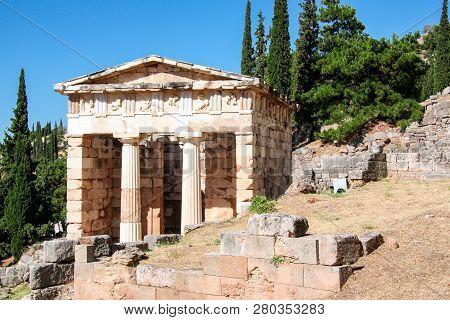 Delphi, Athens Treasury. Archaeological Site On Mount Parnassus. Sanctuary Of Apollo, Greece, Unesco