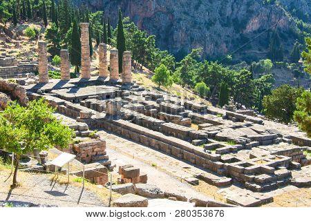 Delphi, Greece: Ruins Of Temple Of Apollo With Delphi Oracle, Centre Of Greek Culture.