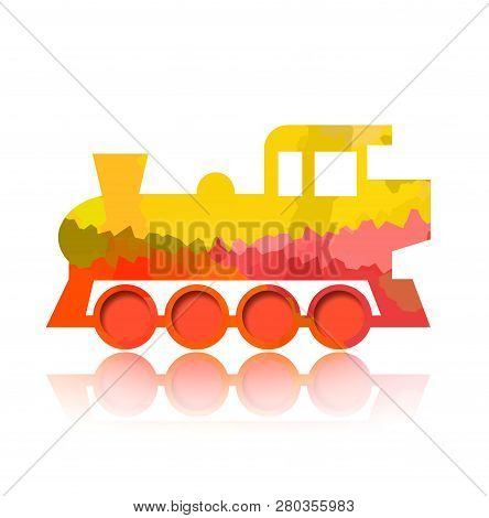 Funny Steam Locomotive Isolated On White Background