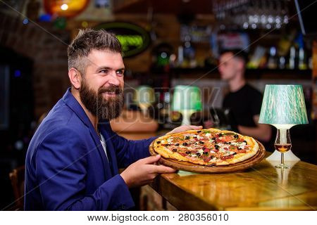 Man Received Delicious Pizza. Enjoy Your Meal. Cheat Meal Concept. Hipster Hungry Eat Italian Pizza.