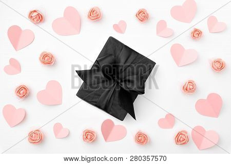 Valentines Day Composition. Love Day Floral Background With Coral Or Pink Flowers Rose, Coral Paper