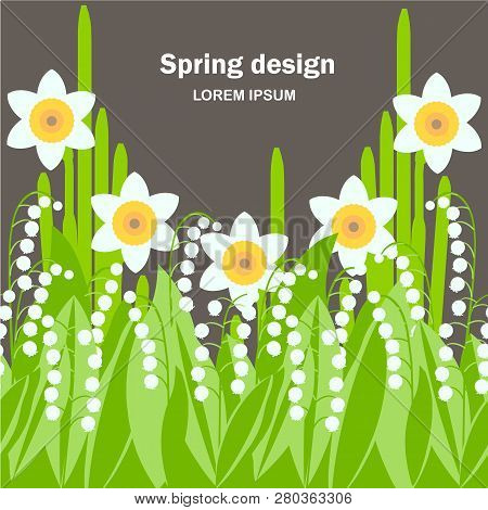 Daffodil, Lilies Of The Valley Seamless Background. White Spring Flowers, Green Leaves On Black Back