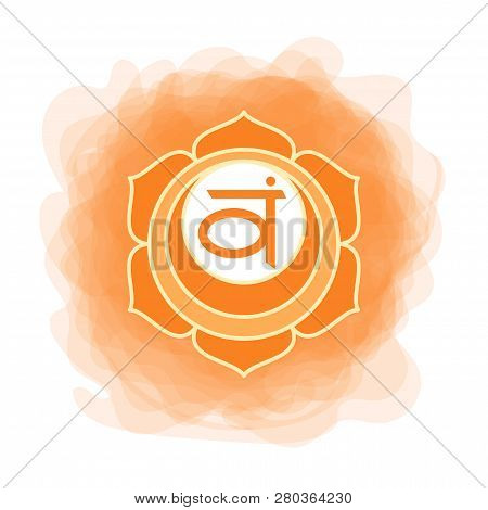 Swadhisthana Icon. The Second Sacral Chakra. Vector Orange Smoky Circle. Line Symbol. Meditation Sig