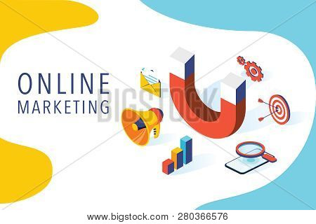 Inbound Marketing Vector Business Illustration In Isometric Design. Online Or Permission Marketing B