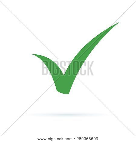 Black Check Mark Icon. Tick Symbol, Tick Icon Vector Illustration. Flat Ok Sticker Icon. Isolated On
