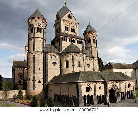Westwork of Romanesque Abbey Maria Laach built between 1093 and 1216 Eifel Germany poster