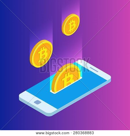 Smartphone With Gold Rain Of Bitcoins. Monetary Business With Bitcoin Currency. 3d Vector Design. Mo