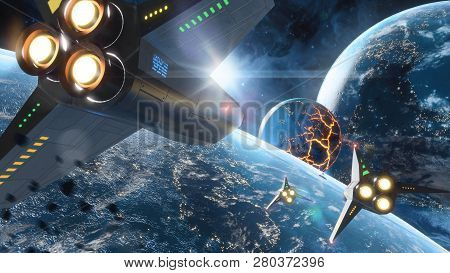 Five Space Ships Flying To The Collapsing Planet. Elements Of This Image Furnished By Nasa