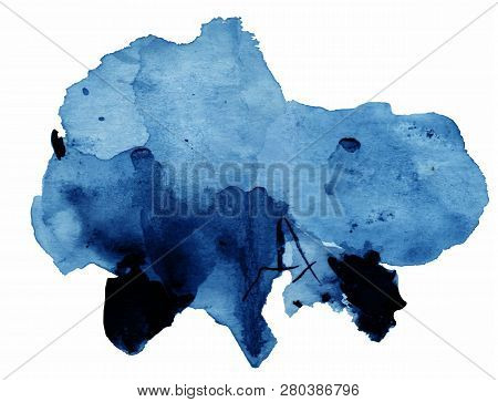 Blue Watercolor Background, Texture, Template. Vector Illustration