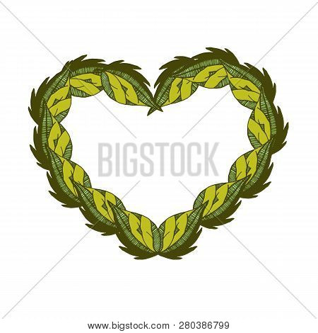 Green Branches And Leaves Frame In A Shape Of Heart. Hand Drawn Watercolor Illustration