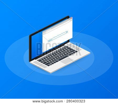 Simple Browser Window On Laptop On Blue Background. Browser Search. Web Browser In Flat Style.  Vect