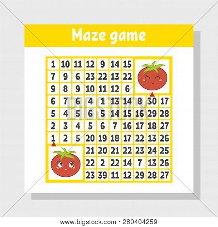Mathematical Colored Square Maze. Help One Tomato Get To Another. Game For Kids. Puzzle For Children
