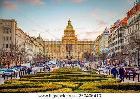 Prague, Czech Republic - 18.01.2019: People On Wenceslas Square At Sunset Lights In Prague In Czech